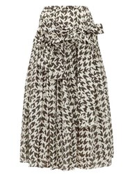 Sara Lanzi Houndstooth Print Cotton Blend Midi Skirt Black White
