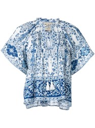 Sea Boxy Floral Print Blouse Women Cotton 4 Blue