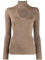 P.A.R.O.S.H. Turtleneck Sweatshirt With Glitter Details Neutrals