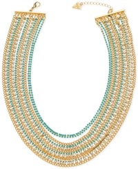 Guess Gold Tone Blue Bead And Crystal Multi Chain Statement Necklace