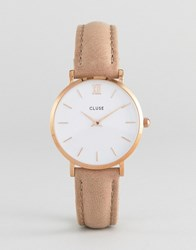 Cluse Cl30043 Minuit Leather Watch Rose Gold White Hazelnut Brown