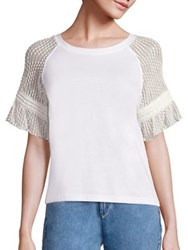 See By Chloe Lace Sleeve T Shirt Off White