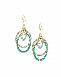 Panacea Layered Crystal Circle Drop Earrings Turquoise