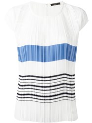 Steffen Schraut Pleated Striped Front T Shirt White