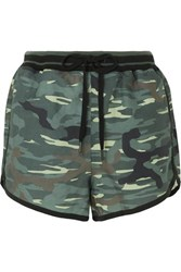 The Upside Camouflage Print Linen And Tencel Blend Shorts Army Green