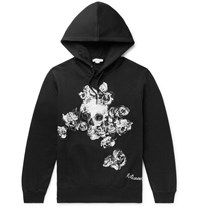 Alexander Mcqueen Embroidered Fleece Back Cotton Jersey Hoodie Black