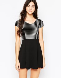Wal G Skater Dress With Striped Top Black