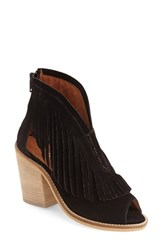 Women's Musse And Cloud 'Galia' Fringe Bootie Black Suede Leather