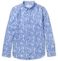 Pink House Mustique Floral Print Linen Shirt Light Blue