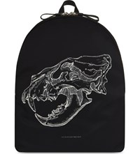 Alexander Mcqueen Lion Skull Backpack Black White