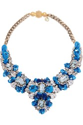 Shourouk Apolonia Gold Tone Crystal And Sequin Necklace Blue