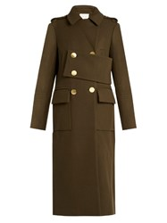 Tibi Double Breasted Wool Blend Trench Coat Khaki