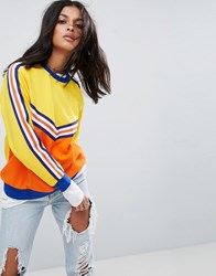Asos Sweat With Varsity Blocking Multi