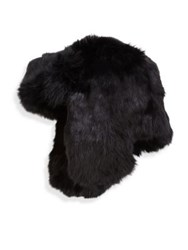 Crown Cap Fur Trimmed Hat Black