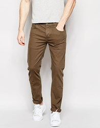 Asos Stretch Slim Jeans In Dark Khaki Green