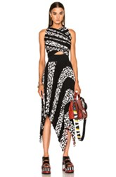 Proenza Schouler Printed Pleated Cloque Dress In Abstract Black White Abstract Black White