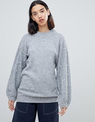 Amy Lynn Sweater With Embellished Detail Gray
