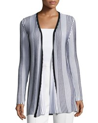 Carmen Carmen Marc Valvo Ribbed Open Front Striped Cardigan Gray Pattern