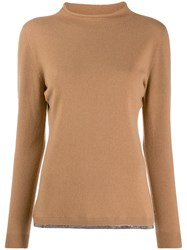 Fabiana Filippi Long Sleeve Fitted Sweater Neutrals