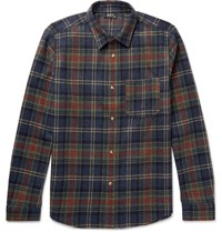 A.P.C. Slim Fit Plaid Wool Blend Shirt Navy
