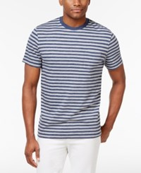 Club Room Men's Crew Neck Striped T Shirt Only At Macy's Light Grey Heather