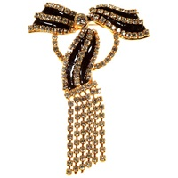 Alice Joseph Vintage Valentino Gold Plated Enamel And Diamante Bow Brooch White
