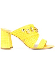 Polly Plume Jewelled Mule Sandals Women Calf Suede 37 Yellow Orange