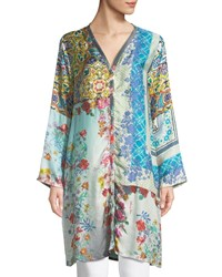 Johnny Was Witteau Button Front Graphic Silk Cardigan Plus Size Multi