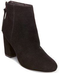 Steve Madden Women's Cynthia Zipper Block Heel Booties Women's Shoes Black Suede