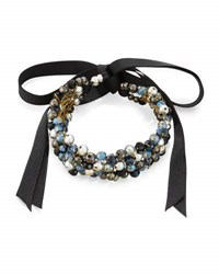 Nakamol Beaded Ribbon Choker Necklace Blue