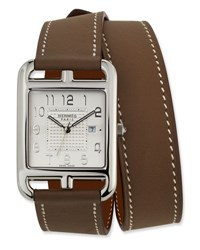 Herm S Large Cape Cod Gm Watch With Taupe Leather Strap