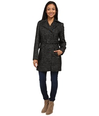 Calvin Klein Wool Belted Coat W Asymmetrical Zipper Black White Women's Coat