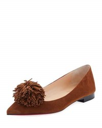 Christian Louboutin Konstantina Suede Pompom Red Sole Flat Brown