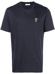 Versace Collection Logo Chest T Shirt Blue