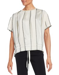 Dkny Short Sleeve Paneled Blouse White