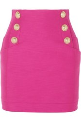 Balmain Button Embellished Cotton Mini Skirt Pink