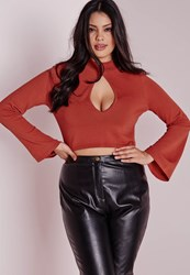 Missguided Plus Size Peep Hole Crop Jumper Rust Brown
