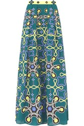 Peter Pilotto Freya Printed Cloque Maxi Skirt Teal