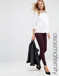 Asos Maternity Rivington Denim Jegging In Oxblood Oxblood Red