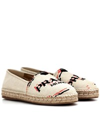 Prada Embroidered Espadrilles Beige