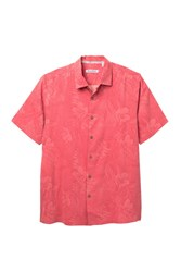 Tommy Bahama Front Button Floral Print Silk Shirt Big And Tall Red Car