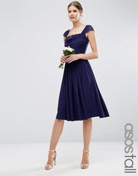 Asos Tall Wedding Lace Insert Cowl Midi Dress Navy