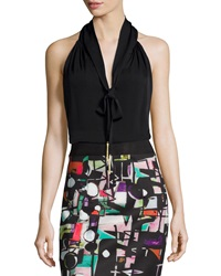 Milly Tassel Tie Silk Halter Blouse