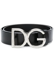 Dolce And Gabbana Logo Buckle Belt Black