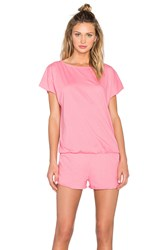 Bobi Supreme Jersey Short Sleeve Open Back Romper Pink