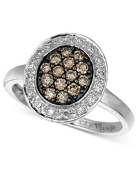 Le Vian Diamond Chocolate And White Diamond Oval 3 8 Ct. T.W. In 14K White Gold