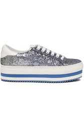Marc Jacobs Woman Glittered Leather Platform Sneakers Light Blue