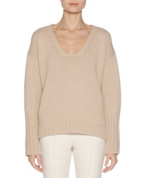 Agnona Wool Cashmere V Neck Sweater With Mink Fur Trim Camel