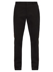 Burberry Shibden Icon Striped Brushed Cotton Chinos Black