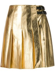 Msgm A Line Pleated Skirt Gold